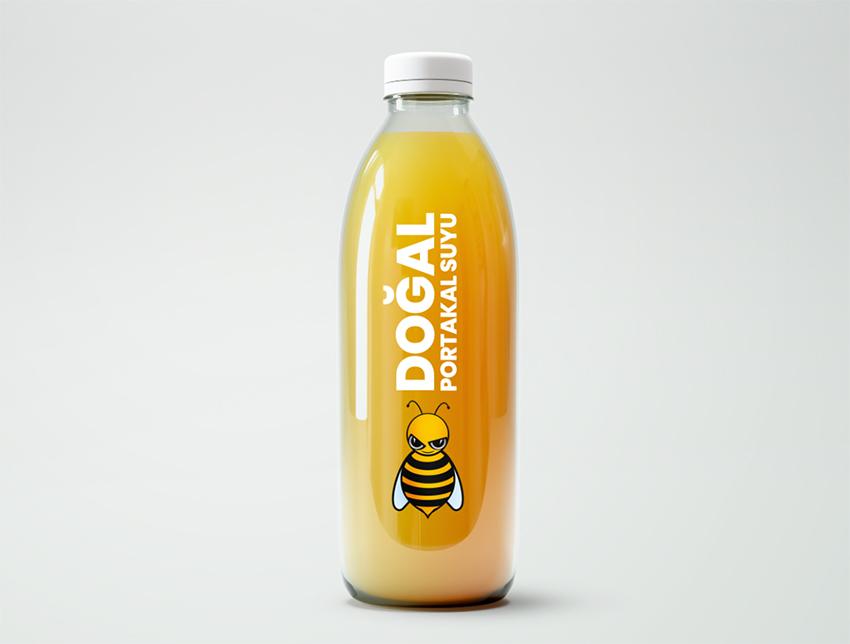 Cam şişe portakal suyu mockup