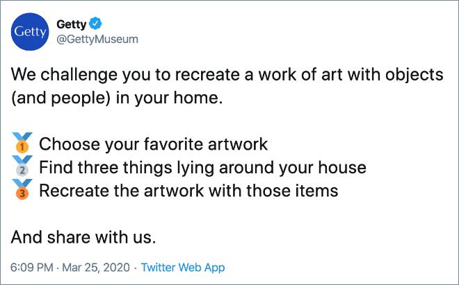 Amerika' da bir müze Corona sebebi ile insanların evde eğlenceli şeyler yapmasını istemiş.