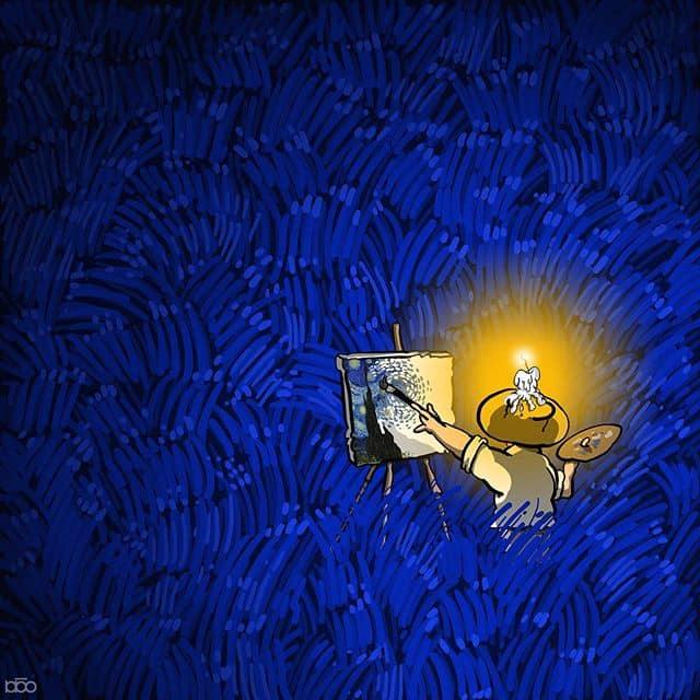 Vincent Willem Van Gogh'un parodilerini oluşturan çizer Alireza Karimi Moghaddam